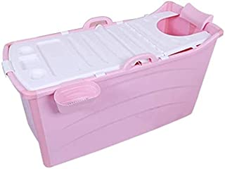 バスタブ、大人スパバス家族浴室ホットアイス用分離サービスの効率的な温度の理想を浸すポータブル折りたたみバースバケツプラスチックの厚いクッション (色 : ピンク, Size : 120 x 52 x 68cm)