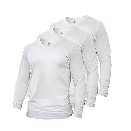 Camiseta de manga larga ATEK Dry Fit | Camiseta que absorbe la humedad para correr, entrenar y llevar casual, L, Blanco