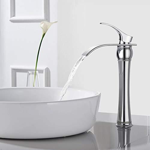 Rubinetto bagno a cascata, BONADE Lavabo Rubinetto a Cascata Miscelatore lavabo Monocomando per Lavabo e Bagno Ottone Cromato