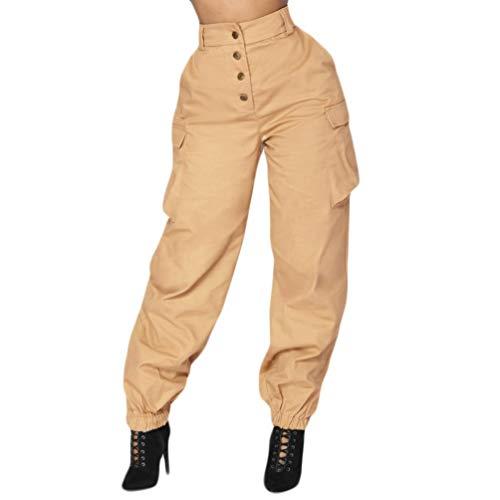 iYBUIA Summer Women High Waist Harem Pants Elastic Waist Stripe Casual Pants(Khaki,XL)