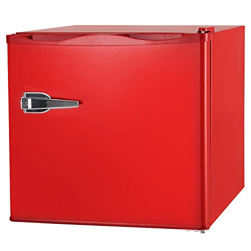RMYHOME 1.2 Cu.ft Compact Upright Freezer, Mini Freezer with Single Door and Shelf, Adjustable Leveling legs, Cold Storage of Food & Beverage for Home, Office, Dormitory, Apartment, Red
