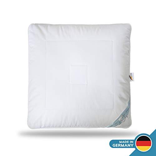 Schlafmond Aktimed Allergiker Kopfkissen 80 x 80 cm, Kissen aus Naturfasern mit Reißverschluss und anpassbarer Füllmenge, waschbar bis 60 Grad, Made in Germany