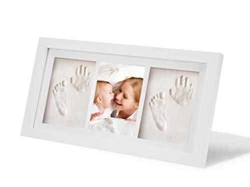 marco de huellas Acobonline Kit de Marco de foto de madera Para Manos y Huellas de bebé para niños y niñas. No se agrieta al secar. (Blanco-Arcilla-2)