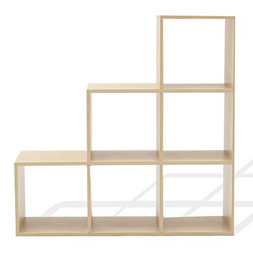 Rebecca Mobili Scaffale Moderno Libreria 6 Cubi Marrone Rovere Chiaro Legno Ordine Sala Cameretta - Misure: 97,5 x 97,5 x 29 cm (HxLxP) - Art. RE6045