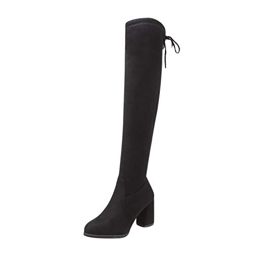 Collocation-Online Winter Boots Flock Botas de Piel para Mujer por Encima de la Rodilla, con Cordones y…