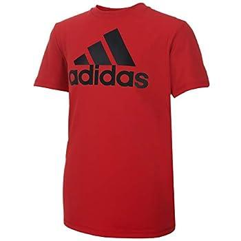 adidas Boys  Big Short Sleeve AEROREADY Performance Logo Tee T-Shirt Scarlet X-Large