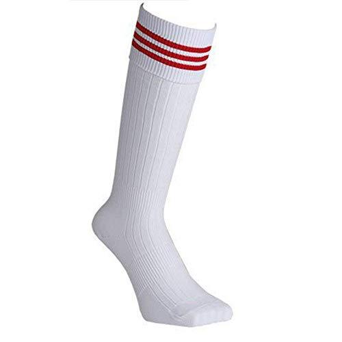 Ogquaton Calcetines deportivos Calcetines deportivos de la raya Calcetines rojos Calcetines largos Unisex Rodilla Calcetín alto para fútbol Animación o cualquier deporte Blanco