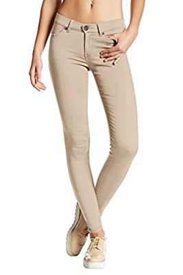 Hybrid & Company Womens Super Stretch Comfy Skinny Pants P44876SK Stone Large