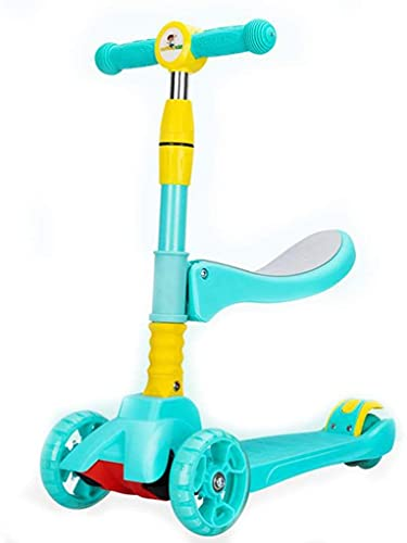 SLZFLSSHPK Patinete niño Scooter Patinetes para niños Kick Scooters para niños de 2 a 12 años: Patinete Plegable con Asiento extraíble, 3 Ruedas de luz LED, Tabla de pie Ancha y Altura ajust