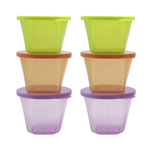 NUK Baby Stackable Food Storage Containers | Microwave & Freezer Safe | 6 Cou