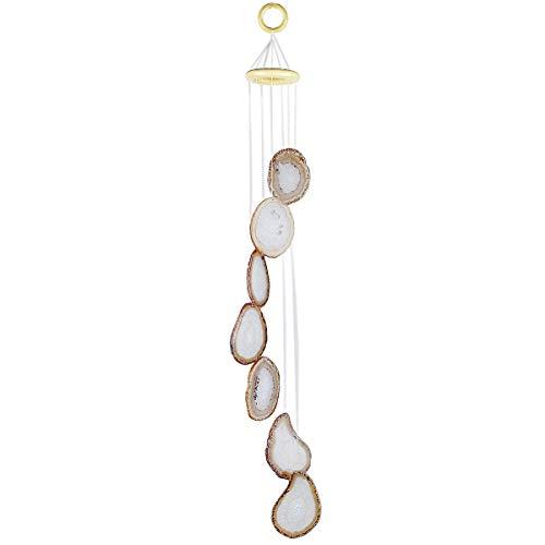 KYEYGWO Natürlicher Achat Scheiben Geode Windspiel Sun Catcher KristallsteinGlockenspiel Artwork für Hausgarten Dekoration 65-80 cm