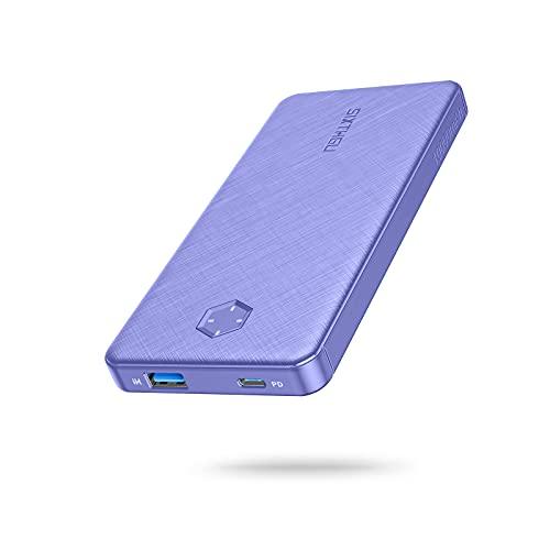 SIXTHGU PD - Batería externa de 10.000 mAh, 20 W, USB-C, con salidas duales, carga rápida, cargador portátil, para teléfono móvil, iPhone, iPad, Samsung Galaxy, Huawei y otros smartphones (morado)