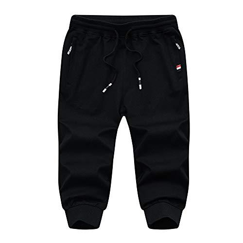 SHERUPOO Men's 3/4 Joggers Capri Pants with Zipper Pockets Training Running Workout Capri Joggers Black