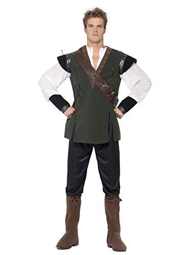 Smiffys Heren Robin Hood Kostuum, Broek, Hemd, Riem met koker en laars, Maat: L, 29076