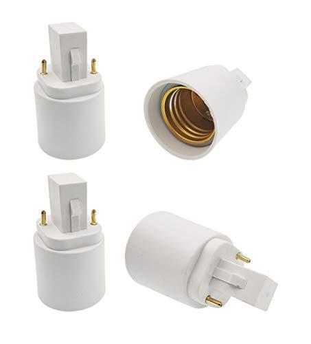 E-Simpo 2Pin G24d (NOT 4P) to E26/27 Adapter G24 CFL Light Socket Adapter G24D-1,G24D-2,G24D-3,GX24D-1,GX24D-2,GX24D-3 to E26 Lamp Holder Converter LED Light Bulb Extend Adapter(4-Pack)