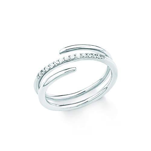 S.Oliver Damen Ring 925 Sterling Silber rhodiniert Zirkonia weiß