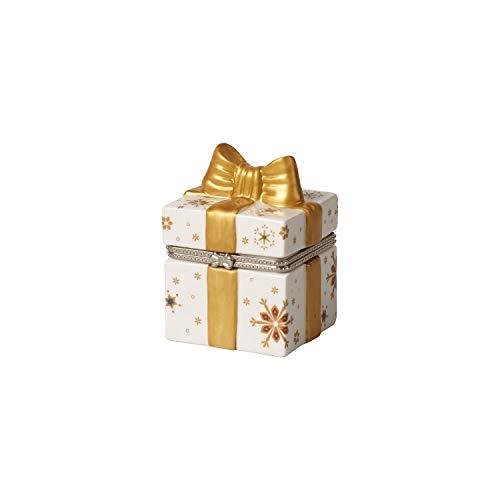 Villeroy & Boch Christmas Toy's Geschenkpaket eckig, dekorative Figur in Geschenkform, Hartporzellan, Metall, gold, weiß, 7 x 6 x 9 cm