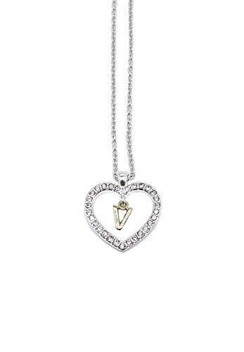 onweerstaanbaar1 zeer mooie heldere kristallen bedekt hart vorm handgemaakte hanger medaillon met een gouden letter V in het centrum op een 40 cm lang zilver metalen ketting + 8 cm lange verlenging