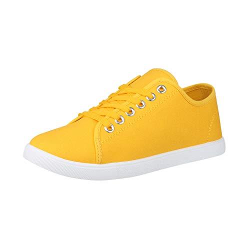 Elara Damen Sneaker Basic Chunkyrayan CL33318 Yellow-39