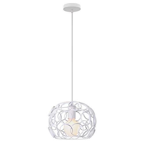 Lámpara Colgante Jaula Esférica de Hierro Metal Hueca Pelota Luz de Techo Creativo Nordico Moderno Iluminacion de Casa Cocina Pasillo Cafe(Blanco)