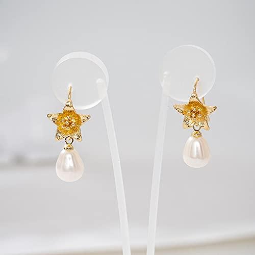 DFDLNL Pendiente Colgante Lava Irregular Pendientes de Perlas de Agua Dulce en Forma barroca Pendiente de Flor de Oro