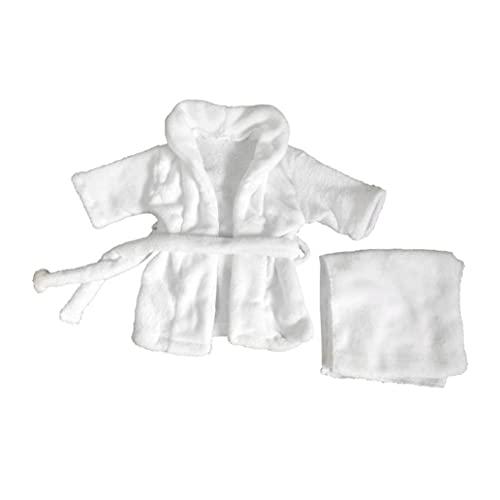 Aiyrchin Bebé recién Nacido del niño Albornoz Toalla Infantil Fotografía Complementos Disfraz Blanca 0-2 Piezas