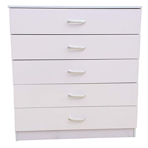 Redstone Chest of 5 Drawers with Anti-Bowing Support (White)