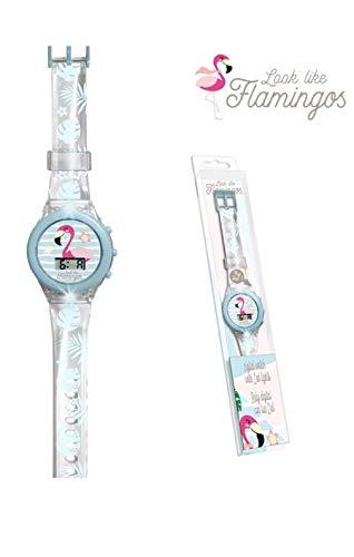 Kids Licensing KL10104 Horloge numérique avec lumières colorées en acétate de Flamants Multicolore (1)