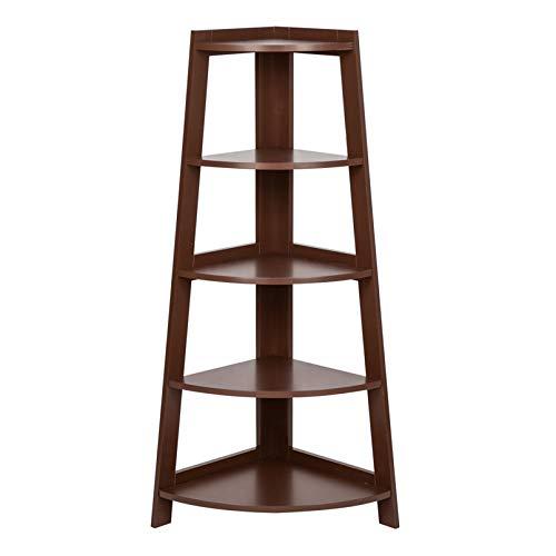 LeafRed C 5 Tier Corner Shelf Stand Wood Display Storage Home Furniture Brown Bookshelf Closet Organizers Book Shelf Bookcase