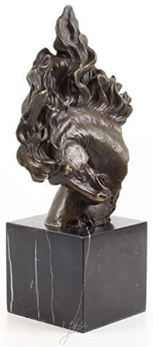 Casa Padrino Figura de Bronce Cabeza de Caballo Bronce/Oro/Negro 16,3 x 10,3 x H. 30 cm - Escultura Deco con Base de Mármol