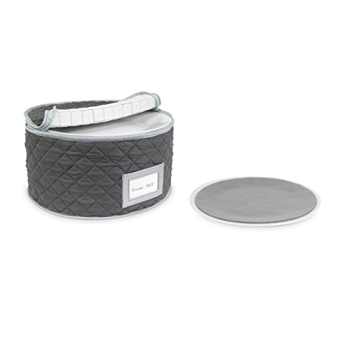 China Storage Case - Dinner Plate Quilted Case - 12 inches diameter x 7 inches height - Gray - Includes 12 Felt Separators