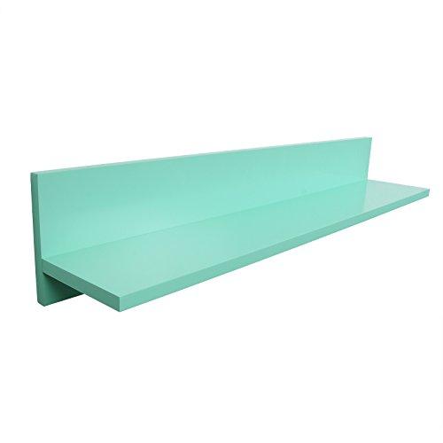 WOLTU RG9242mzg Panel de Pared del Estante de la Pared Que cuelga el Estante del Cubo del Tablero de Madera del Tablero, Verde Menta del Alto Lustre, 97x18x18cm