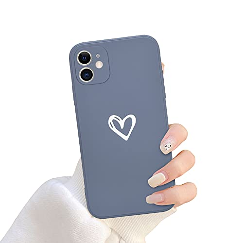Newseego Compatibile per iPhone 11 Custodia (6.1 inch), Carino Cuore iPhone 11 Custodia Morbido Silicone Liquido iPhone 11 Cover per Cellulare Protettivo Custodia in Antiurto Sottile iPhone 11-Grigio