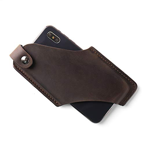 Gentlestache Leather Phone Holster, Phone Holder for Belt Loop, Cell Phone Cases, Leather Belt Pouch with Magnetic Button Darkbrown