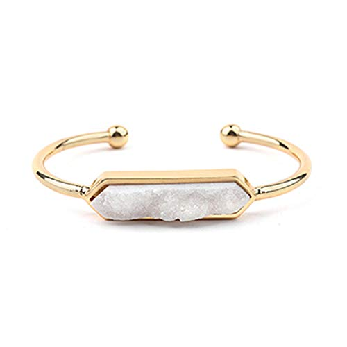 Sunwd Cuentas Pulsera Women Bangles Druzy Gold Color Bangles White Green Blue Black Fashion Jewelry Natural Stone Druzy Cuff Bracelets BR004