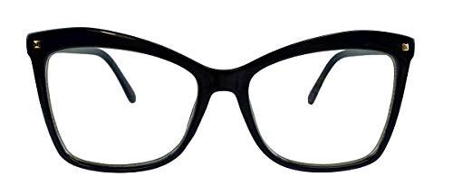 Große Damen Mode Brille Square Frame oversized Klarglas Brillengestell Blogger Fashion SC28 (Ink Blue)