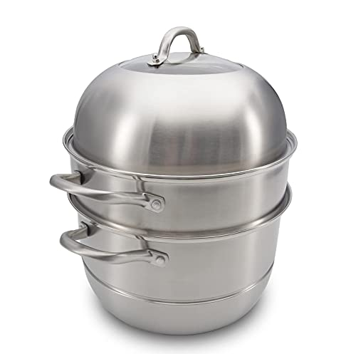 Stainless Steel Steamer Pot Big 11inch by RanRan, 3 Tier 5-Quart, Heavy Duty Food Grade Material, Good for Steaming Vegetables/Food/tamale/Crab, Induction Compatible Steamer for Cooking, Saucepot