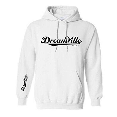 Dreamville Unisex Hooded Sweater with Sleeve Print Pullover Hoodie White