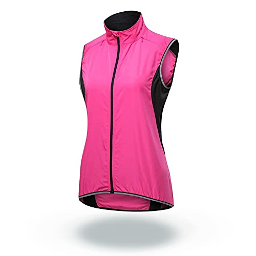 SFITVE Alta Visibilidad Chaleco de Ciclismo para Hombre, Chaleco Reflectante Resistente Agua y Viento,Respirable Ropa Cortavientos,Protección UV Chaqueta de Bicicleta(Size:XS,Color:Rosa)