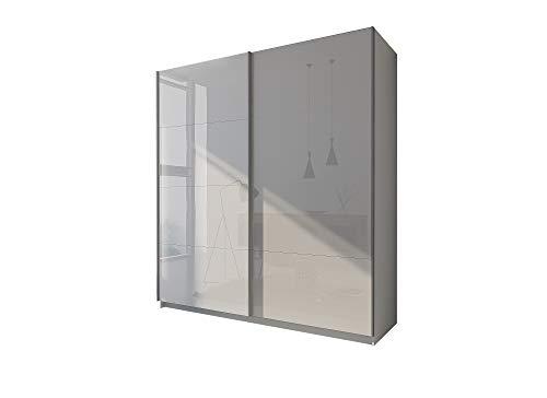 LUK Furniture LINA III - Armadio con ante scorrevoli, set completo, bianco lucido