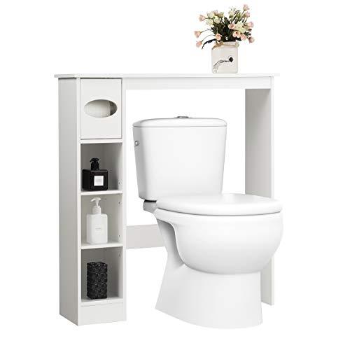 GOPLUS Toilettenschrank mit Toilettenpapierhalter, Waschmaschinenschrank mit Verstellbaren Ablagen, Badschrank aus Holz, im Landhausstil, für Toilette Waschmaschine, Weiß