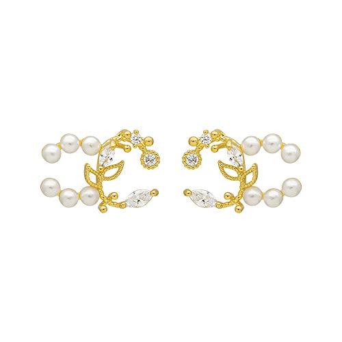 Earrings Drop Dangle Silver Needle Petal Pearl Pendant Stud Earrings Jewelry Gifts for Women Girls