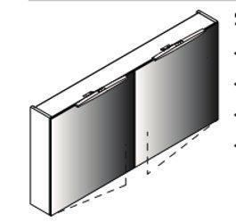 Lanzet spiegelkast L7 120, 2T, Dark Oak