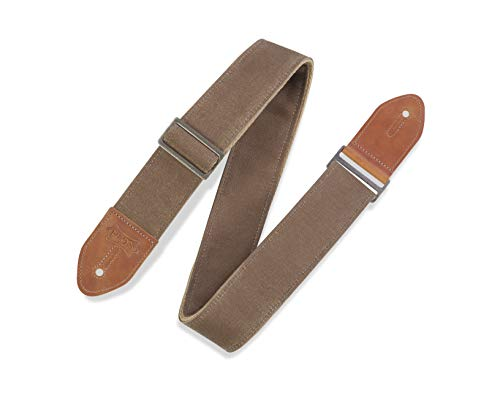 """Levy's Leathers 2"""" Waxed Canvas Guitar Strap Traveler's Design; Tan (M7WC-TAN)"""