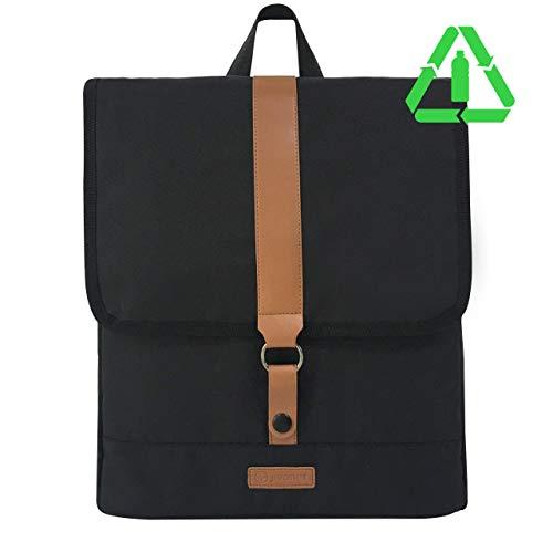 JIVANER Small Backpack Women Men Black Anti-theft Waterproof Laptop Backpack Elegant Casual Business College School Backpack Eco Polyester Vegan Leather Daypack