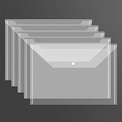 ボタン式ファイルバッグ 50枚セット A4 クリアファイル 大容量 防水 半透明 クリアーホルダー オフィス 学校 学生 入学準備用 ボタン式 ファイルケース オフィス用品 事務用品 書類 資料保管 文房具 小物収納 ドキュメントケース (ホワイト1)