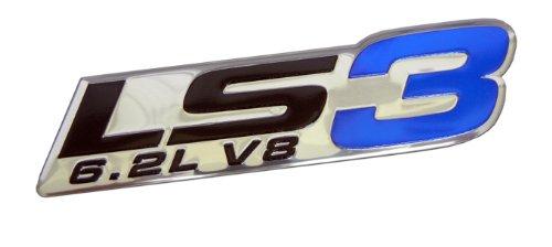 LS3 6.2L V8 Blue Engine Emblem Badge Highly Polished Aluminum Chrome Silver for GM General Motors Performance Chevy Chevrolet Corvette C6 ZR1 Camaro SS RS Pontiac G8 GXP Holden Vauxhall VXR8
