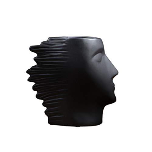Ceramic Vase, Desktop Vase Fashion Face Shape Black Vase Table Decor for Bedroom Living Room Kitchen, 13 23.5 22cm, Large Size