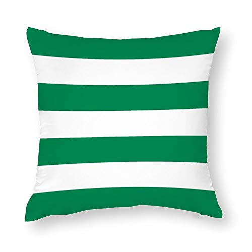 Classic Horizontal Stripes Green and White Throw Pillow Covers Case Cushion Pillowcase with Hidden Zipper Closure for Sofa Home Decor 16 x 16 Inches