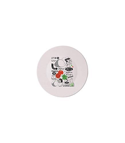 Bormioli Rocco 5182400 Plato ópalo circular con diseño de recetas de pizza, 33 cm, 1 unidad